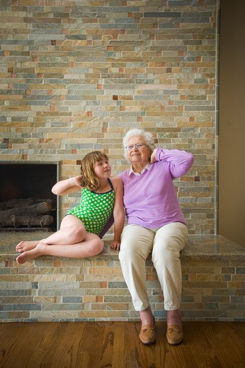 Girl and her grandmother mock posing, San Diego, California, USA : Stock Photo