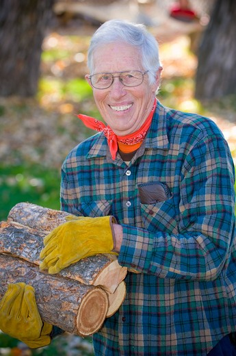 Senior man carrying firewood, Bozeman, Montana, USA : Stock Photo