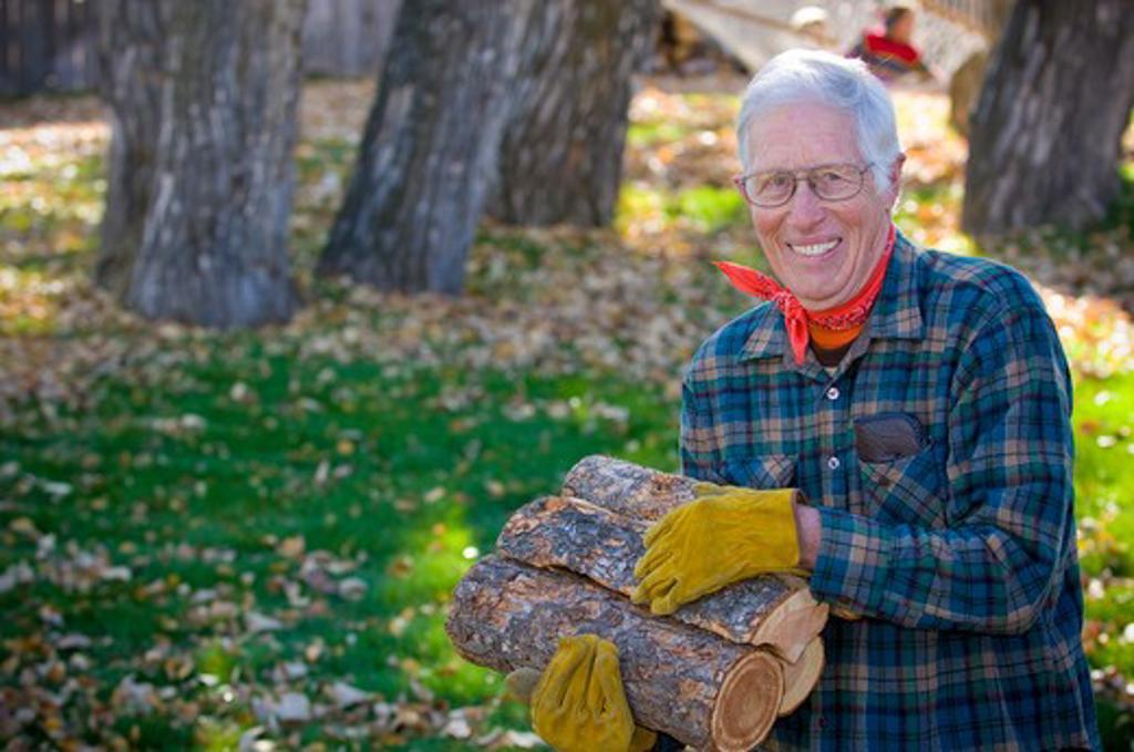 Senior man carrying firewood, Bozeman, Montana, USA : Stock Photo