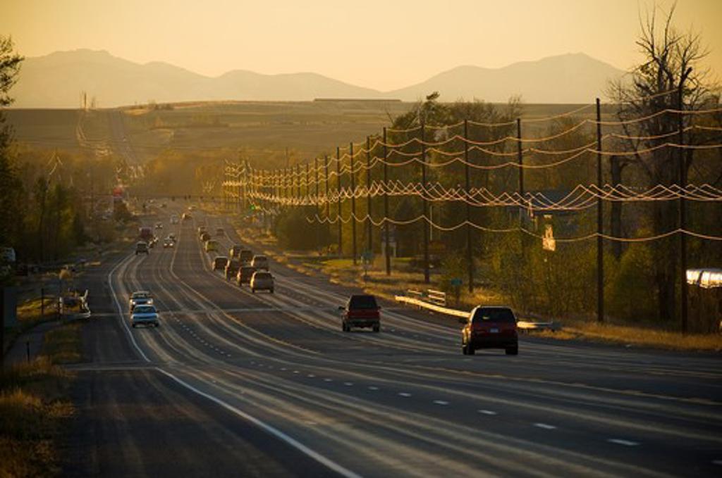 Stock Photo: 4033-385A Cars on a highway, Bozeman, Montana, USA