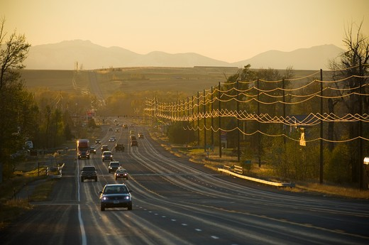 Stock Photo: 4033-385B Cars on a highway, Bozeman, Montana, USA