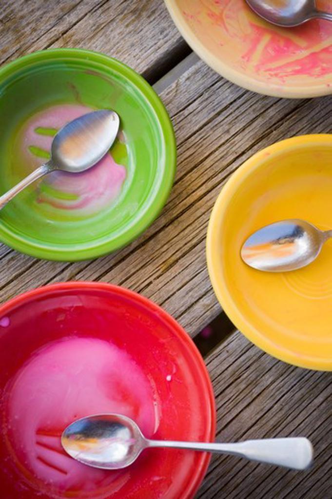 Stock Photo: 4033-386A Empty ice cream bowls, Bozeman, Montana, USA