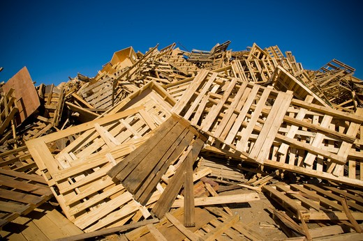 Heap of recyclable wood products : Stock Photo