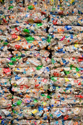 Stacks of crushed recyclable plastic bottles : Stock Photo