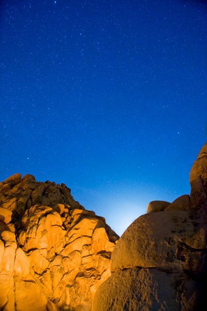 Stock Photo: 4033-489 Boulders lit up at night, Joshua Tree National Monument, California, USA