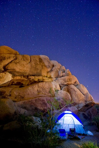 Stock Photo: 4033-513A Dome tent lit up at night, Joshua Tree National Monument, California, USA