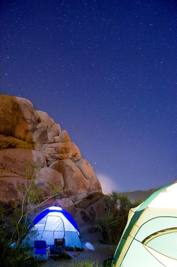 Stock Photo: 4033-513B Dome tents lit up at night, Joshua Tree National Monument, California, USA