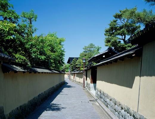 Nagamachi samurai residence mark, clay wall, Kanazawa, Ishikawa, Hokuriku, Japan : Stock Photo