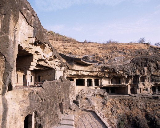 Buddhism stone cave group Ellora India World Heritage : Stock Photo