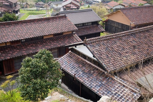 Sekisyu tiled roof, Fukiya Hurusato village, Nariwa, Takahashi, Okayama, Sanyo, Japan : Stock Photo