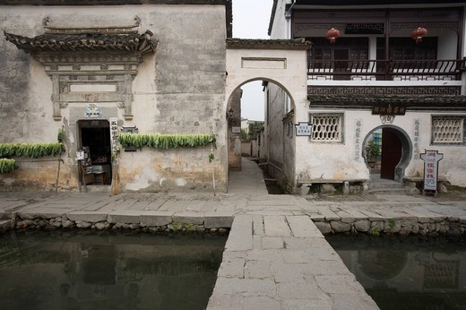 Stock Photo: 4034-102692 Pond, private house, Hongcun, Anhui, China, Asia, World Heritage