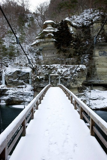 Tonohetsuri, hanging bridge, Fujimi Bridge, Shimogo, Fukushima, Japan : Stock Photo