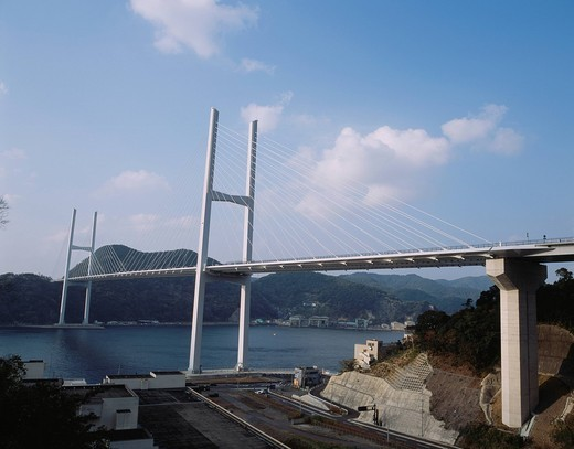Goddess big bridge, suspension bridge, Venus wing, Nagasaki, Nagasaki, Kyushu, Japan, December : Stock Photo