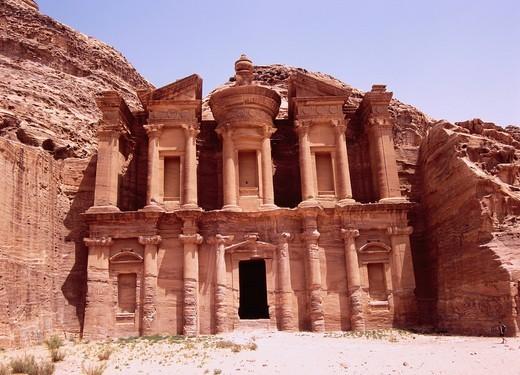 Monastry, Ed Deir, Ruin, Petra, Jordan, Middle East : Stock Photo
