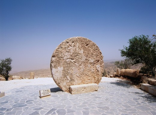 Stock Photo: 4034-104495 Moses Stone Monument, Mount Nebo, Jordan, Middle East
