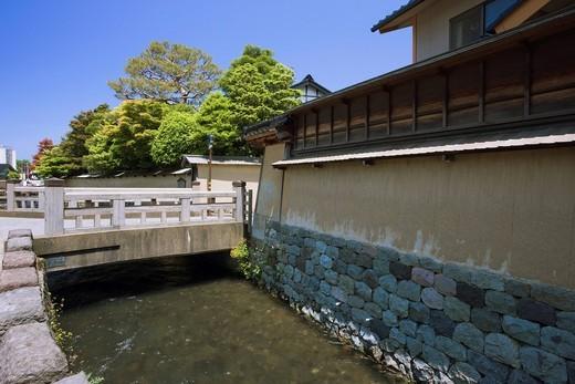 Nagamachi Samurai District, Onosho canal, Kanazawa, Ishikawa, Hokuriku, Japan : Stock Photo