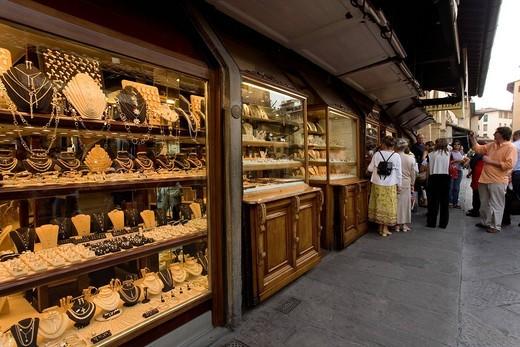 Ponte Vecchio, Bridge, Tourist, Precious metals shop, Shop, Market, Florence, Firenze, Italy, Europe : Stock Photo