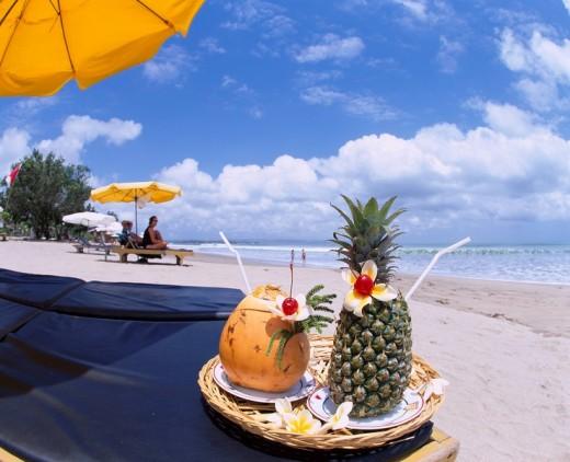 Sea Summer Pineapple juice Mango juice Colorful Sandy beach Blue sky Clouds Kuta Beach Tropical juice Bali Island Indonesia left = S  futility : Stock Photo