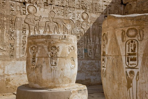 Stock Photo: 4034-107659 Medinet Habu, colonnade room, Luxor, Egypt, Africa, World Heritage