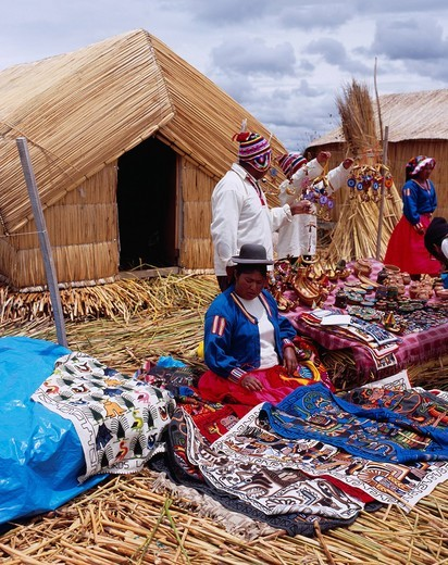 Stock Photo: 4034-110836 Uros Island, Ethnic Costume, Female, People, Folkcraft, Reed House, titicaca Lake, Peru, Central South America
