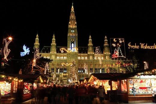 Christmas Market, Christmas, City Hall, Illumination, Vienna, Austria : Stock Photo