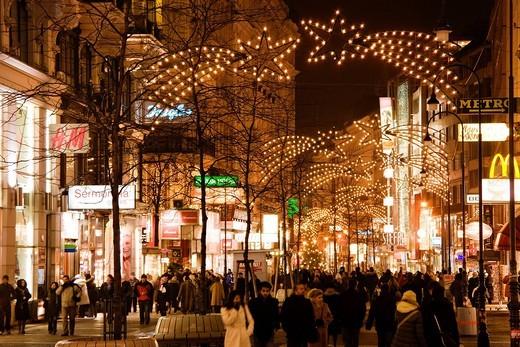 Kaerntner Strasse, Night View, Vienna, Austria, World Heritage : Stock Photo