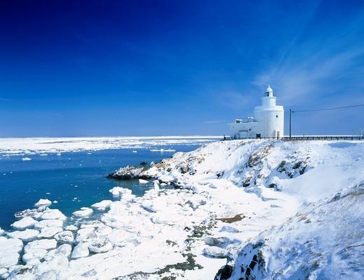 Nosappu cape, drift ice, Nemuro, Hokkaido, Japan : Stock Photo