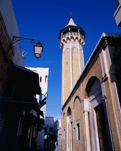 Stock Photo: 4034-115046 Minaret, Sidi Youssef Mosque, Medina, Tunis, Tunisia, Africa , World Heritage
