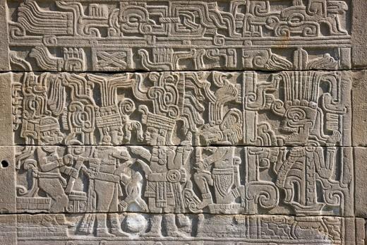 El Tajin ruins, Ball game place, Relief, El Tajin, Mexico, Latin America, Central South America : Stock Photo