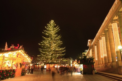 Christmas market, Christmas tree, illumination, Stuttgart, Germany, Europe : Stock Photo