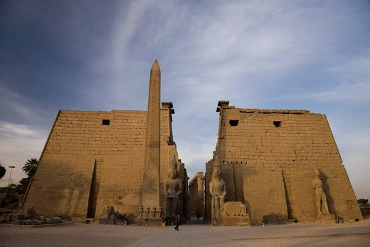 Luxor castle, morning, the first tower gate, Luxor, Africa, World Heritage : Stock Photo