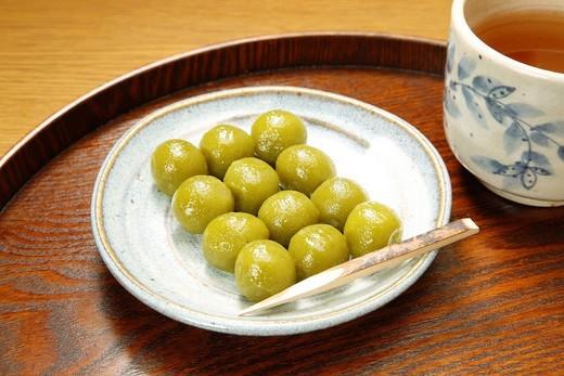 Dango, Wagashi, Confectionery, Japanese Tea, Drink, Uji, Kyoto, Kinki, Japan : Stock Photo