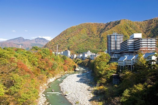 Red Leaves, Kinu River, Kinugawa Hot Spring, Nikko, Tochigi, Kanto, Japan : Stock Photo