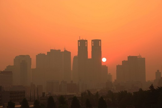 Shinjuku, cluster of high_rise buildings, sunrise, Morning Sun, Tokyo, Kanto, Japan : Stock Photo