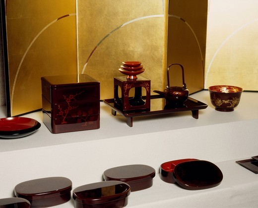 Stock Photo: 4034-119014 Wajima lacquer ware, Ishikawa prefectural traditional arts and crafts Museum, Kanazawa, Ishikawa, Hokuriku, Japan
