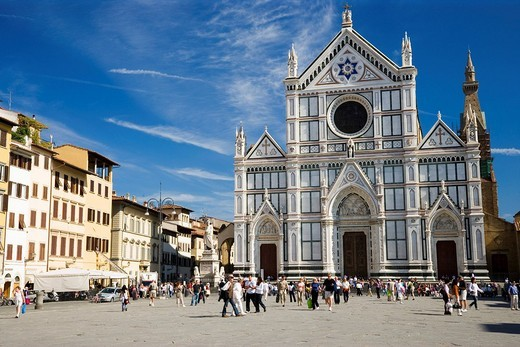 Santa Croce church, church, Florence, Italy, Europe : Stock Photo