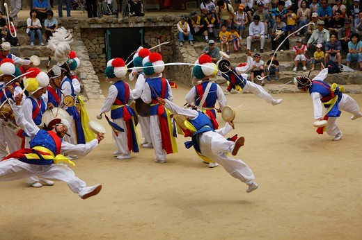 Stock Photo: 4034-121047 Korean Folk Village, folk customs dance music, agriculture easiness, Suwon, South Korea, Asia