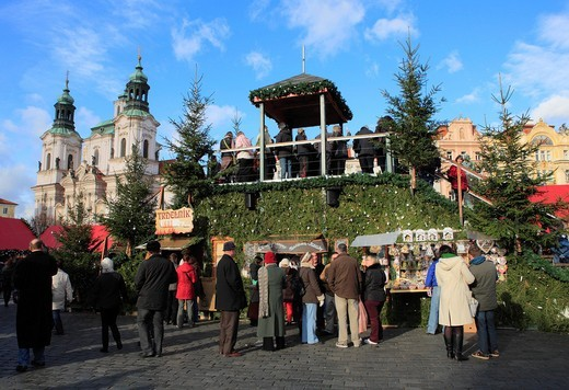 Christmas Market, Old town plaza, fir tree, Prague, Czech Republic : Stock Photo