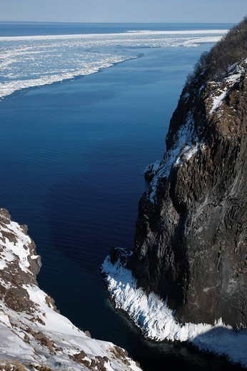Furepe Cliff, drift ice, Furepe, Observatory, Shari, Hokkaido, Japan : Stock Photo