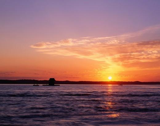Akkeshi lake, Morning Sun, Sunrise, Lake, Akkeshi, Hokkaido, Japan : Stock Photo