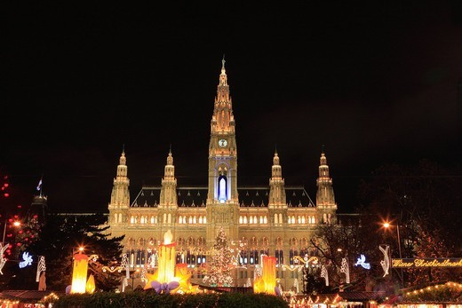Christmas city, City Hall, illumination, Vienna, Austria, Europe of market, Christmas : Stock Photo