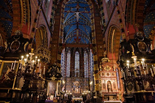 Internal, Inside, Church of St. Mary the Virgin, church, front, Krakow, Poland, Europe, World Heritage : Stock Photo