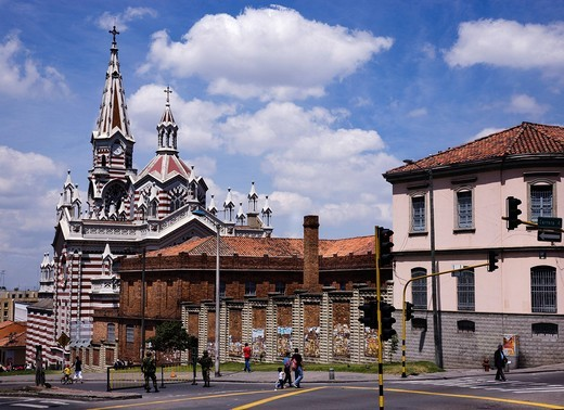 Carmen church, City View, Bogota, Colombia, Central South America : Stock Photo