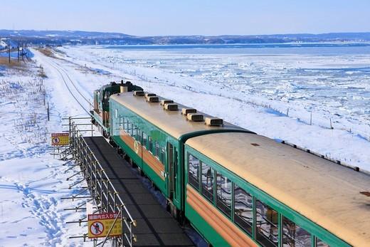 View from Kitahama Station, Norocco, Railway, Train, Okhotsk Sea, Drift Ice, Abashiri, Hokkaido, Japan : Stock Photo