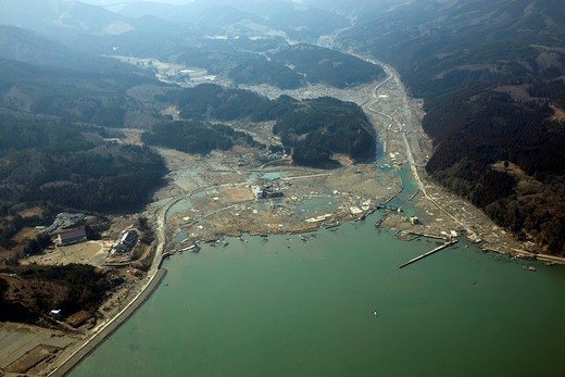 Stock Photo: 4034-126873 Rikuzen Togura, Motoyoshi, Miyagi, Tohoku, damage, erthquake, tidal wave, Great Eastern Japan Earthquake and Tsunami Disaster , aerial, Japan