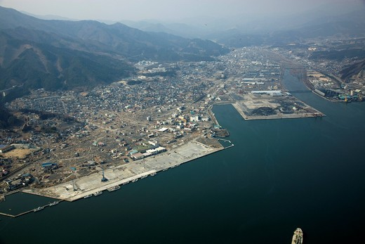 Stock Photo: 4034-126894 Ofunato port, Ofunato_cho, damage, earthquake, tidal wave, Great Eastern Japan Earthquake and Tsunami Disaster, Ofunato City, Iwate, Tohoku, At