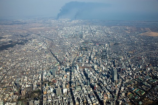 Great Eastern Japan Earthquake and Tsunami Disaster, Aoba, Sendai Station, Sendai Shiogama port, industrial complex, fire, damage, earthquake, tidal wave, Sendai, Miyagi, Tohoku , aerial, Japan : Stock Photo