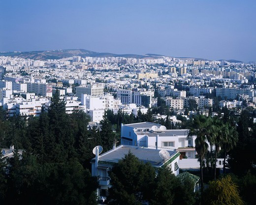 City View, Tunis town taking a picture from Sheratonchenis, Tunis, Tunisia : Stock Photo
