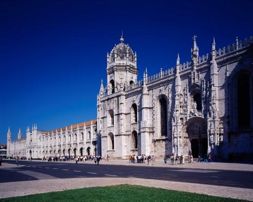 Mosteiro dos Jeronimos Lisbon Portugal Sky Way Road People : Stock Photo