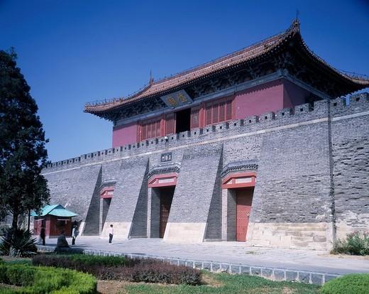 Mausoleum Qianmen of Daimiao, Taian, Shandong, China, architecture, gate, blue sky, tree, green, October : Stock Photo